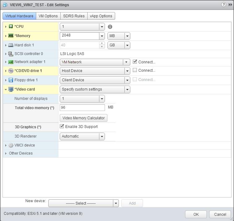 Назначение видео памяти для виртуального рабочего стола VMware View