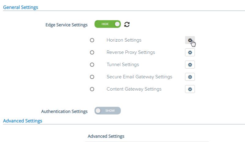 Edge Service Settings